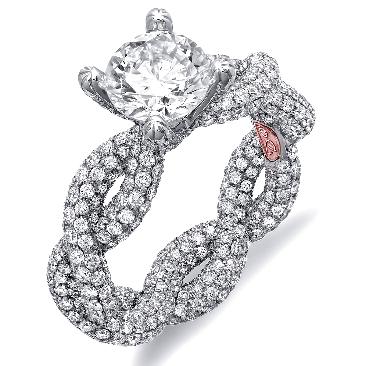 Twisted Micropave Engagement Ring
