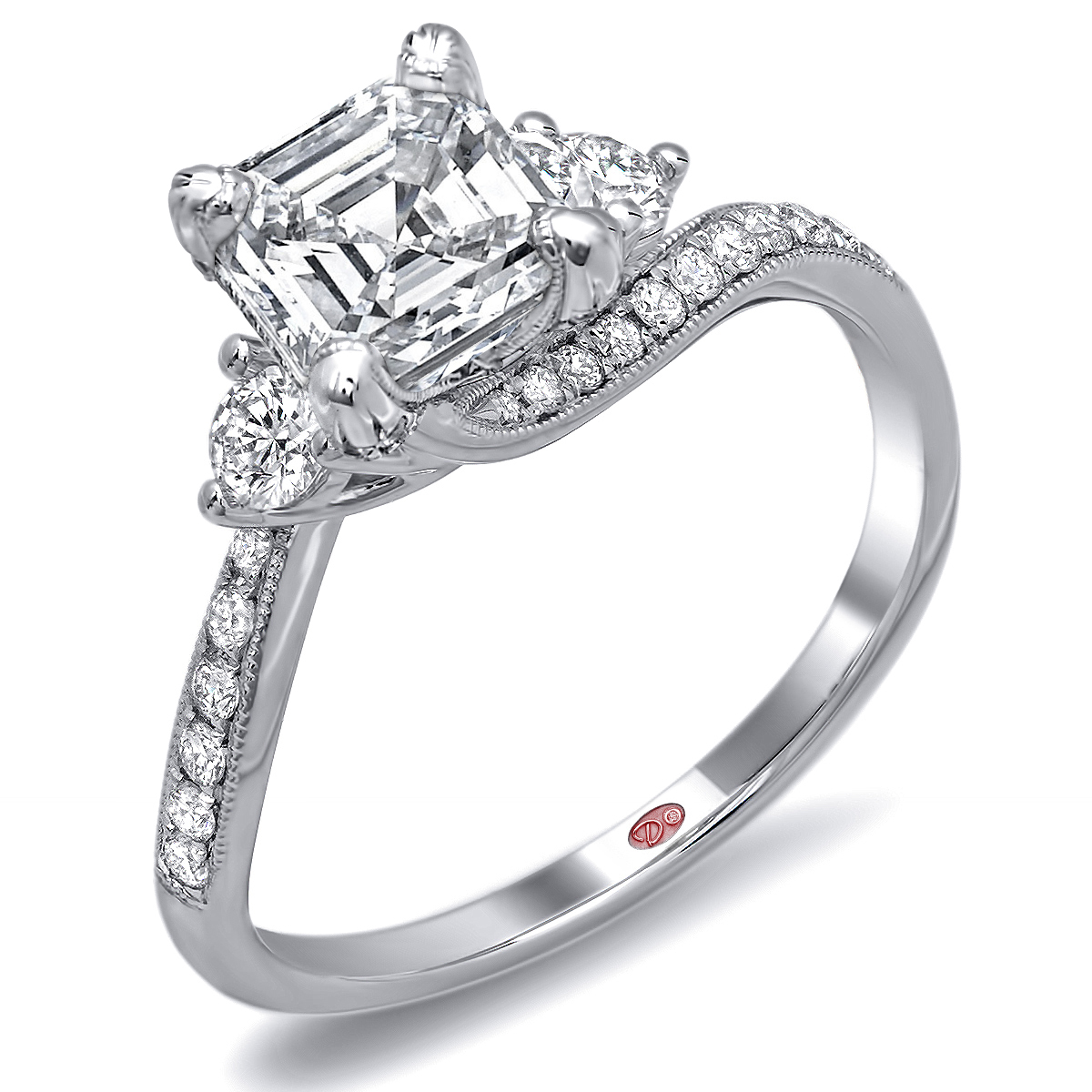 rings solitaire engagement ring cut gold asscher white in products